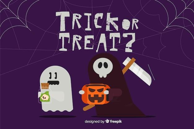 Halloweenowy tło z ponurą żniwiarką i duchem