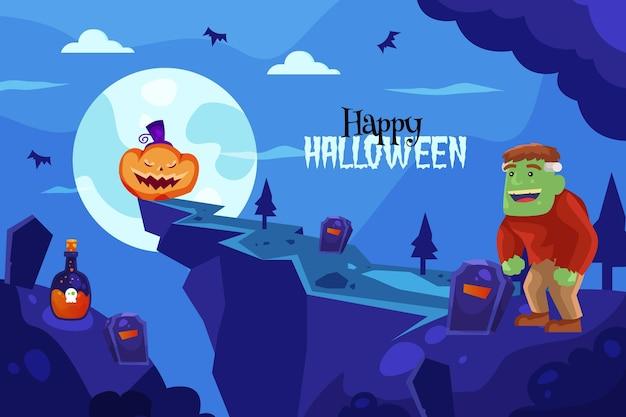 Halloweenowy tło z potworem