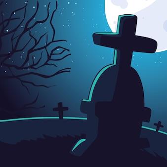 Halloweenowy tło z przerażającym cmentarzem i pełni księżyca