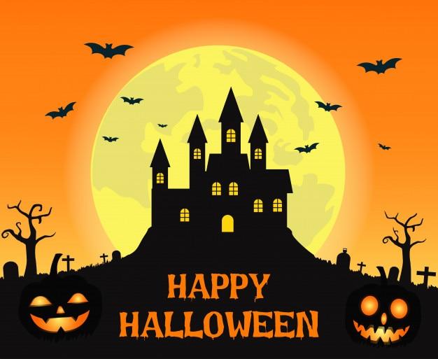 Halloweenowy tło z przerażającym kasztelem na księżyc w pełni