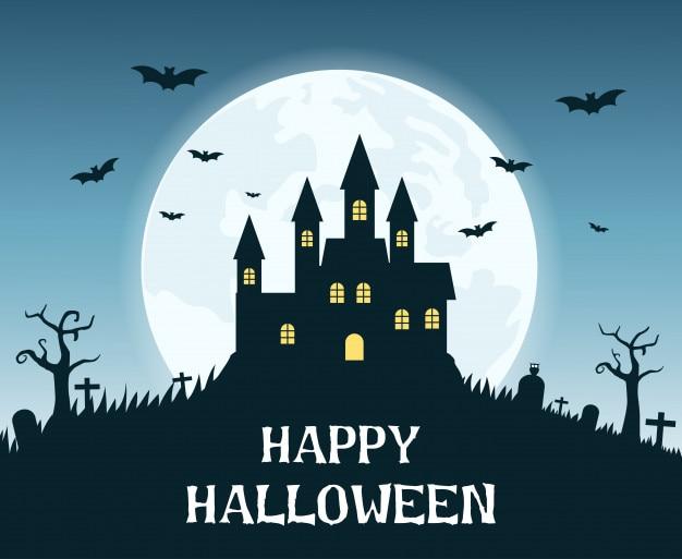 Halloweenowy tło z przerażającym kasztelem