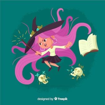 Halloweenowy tło z śliczną czarownicą