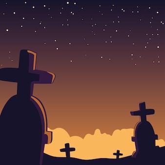 Halloweenowy tło z strasznym cmentarzem