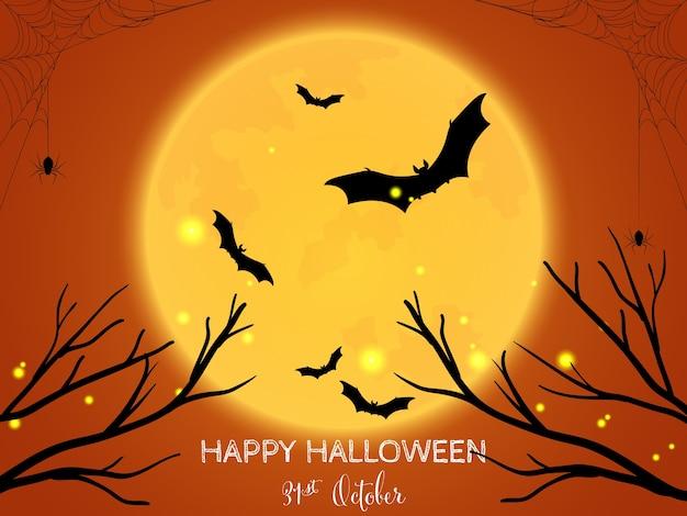 Halloweenowy tło z szczęśliwym halloweenowym tekstem.