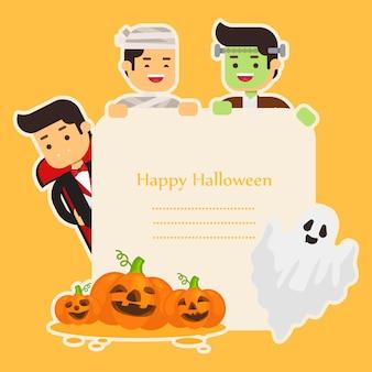 Halloweenowy tło z uroczymi kostiumami