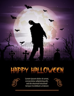 Halloweenowy tło z zombie chodzącym od grób