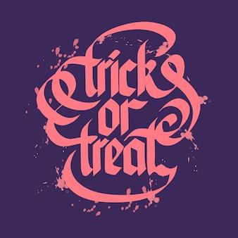 Halloweenowy trick lub treat typograficzne litery z różowymi literami