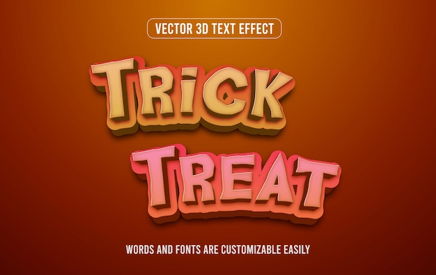 Halloweenowy trik lub psikus 3d edytowalny efekt tekstowy