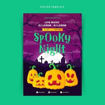 Halloweenowy upiorny plakat z dyniami