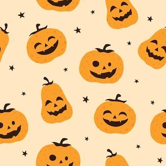 Halloweenowy uśmiechnięty dyniowy wektorowy bezszwowy deseniowy tło, tapeta, tekstura, druk
