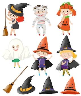 Halloweenowy ustawiający z dzieciakami w kostiumach