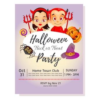 Halloweenowy wakacje przyjęcia plakat z para diabłem