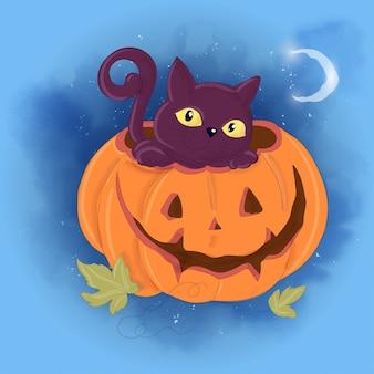 Halloweenowy wakacyjny kartka z pozdrowieniami z śliczną banią i czarnym kotem.