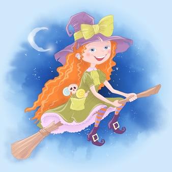 Halloweenowy wakacyjny kartka z pozdrowieniami z śliczną czarownicą
