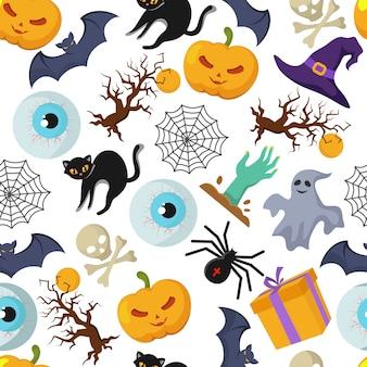 Halloweenowy wektorowy bezszwowy wzór