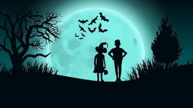 Halloweenowy wektorowy tło. dzieciaki na moon road.