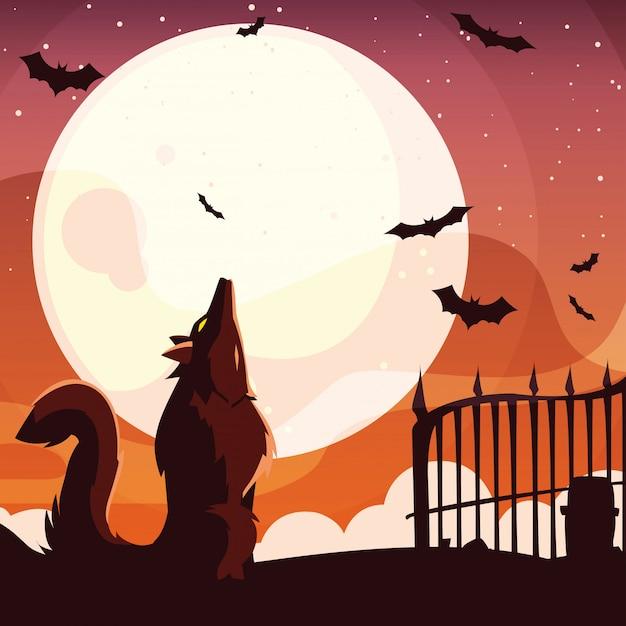 Halloweenowy wilk wyje przy księżyc w pełni
