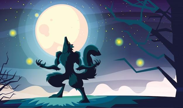 Halloweenowy wilkołak kreskówka