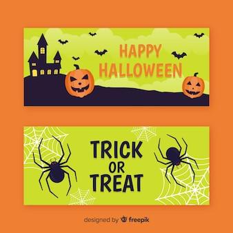 Halloweenowy wystrój na żółtych odcieniach płaskich banerach