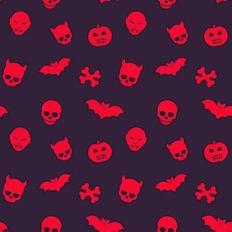 Halloweenowy wzór, bezszwowe tło z czaszkami, nietoperzami, dyniami i wampirami