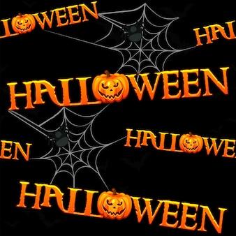 Halloweenowy wzór, czarny straszny tekstura z dyniami. ilustracja wektorowa upiornego tła z pająkami i napisem.