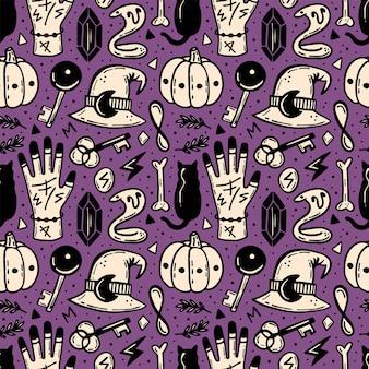 Halloweenowy Wzór. Ezoteryczne, Nadprzyrodzone, Paranormalne. Premium Wektorów