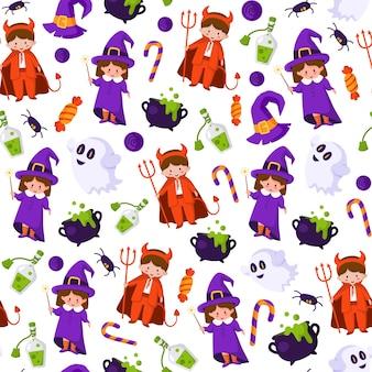 Halloweenowy wzór kreskówki - dzieci w kostiumach na halloween diabła i czarownicy, ducha, pająka, kociołka z eliksirem