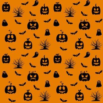 Halloweenowy wzór. na pomarańczowym tle czarne sylwetki dyni, drzewa, nietoperzy i ducha. ilustracja wektorowa.