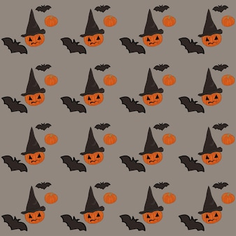 Halloweenowy wzór na szarym tle