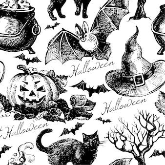 Halloweenowy wzór. ręcznie rysowane ilustracja