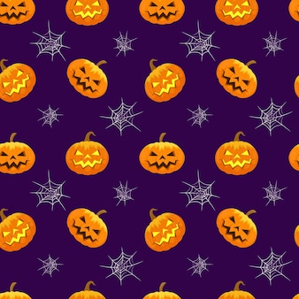 Halloweenowy wzór rzeźbiona świecąca dynia i pajęczyna bezszwowe tło wakacje halloween