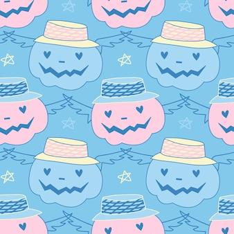 Halloweenowy wzór w pastelowych kolorach niebieskim i różowym