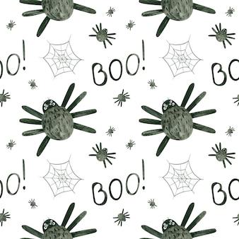 Halloweenowy wzór z akwarelowymi pająkami i pajęczynami upiorny cyfrowy papier do scrapbookingu