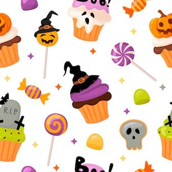 Halloweenowy wzór z babeczkami i słodyczami w stylu kreskówki