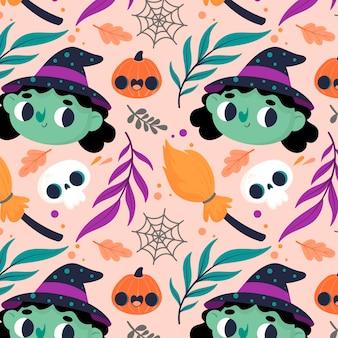 Halloweenowy wzór z czarownicami