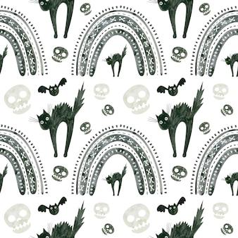Halloweenowy wzór z czaszkami przestraszonymi czarnym kotem i tęczami upiorny cyfrowy scrapbooki