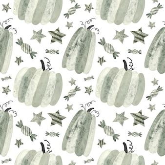 Halloweenowy wzór z dyniami i słodyczami upiorny cyfrowy papier do scrapbookingu