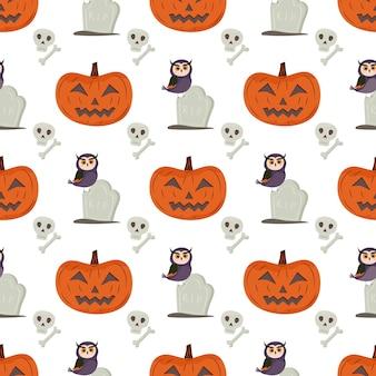 Halloweenowy wzór z dyniową sową nagrobkiem czaszką i kością