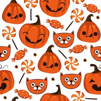 Halloweenowy wzór z ładnymi dyniami, czarnym kotem i innymi elementami halloween. tło wektor halloween. eps 10