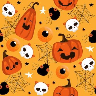 Halloweenowy wzór z ładnymi dyniami i innymi elementami halloween. tło wektor halloween. eps 10