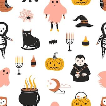 Halloweenowy wzór z przerażającymi i strasznymi magicznymi postaciami z bajek na białym tle - duch, szkielet, wampir, jack-o -lantern