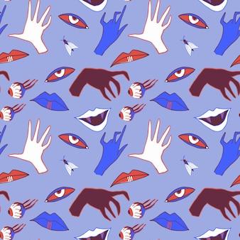 Halloweenowy wzór z rękami, oczami i ustami wampira