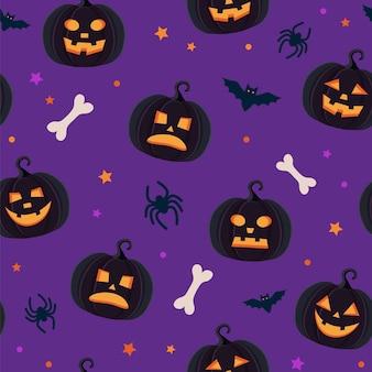 Halloweenowy wzór z różnymi dyniami, straszną latarnią, pająkami i nietoperzami