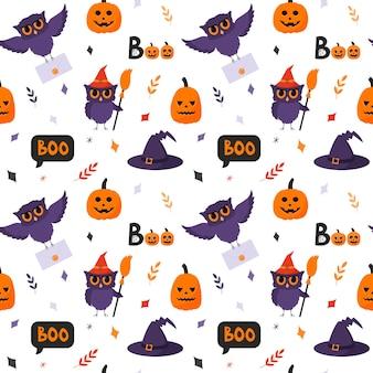 Halloweenowy wzór z sową, dynią, napisem boo, kapeluszem i gałązkami. białe tło.