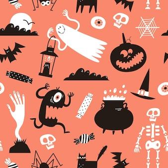 Halloweenowy wzór z uroczymi ręcznie rysowanymi postaciami