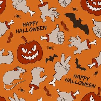 Halloweenowy wzór z uśmiechniętymi czerwonymi latarniami jack rąk z kości
