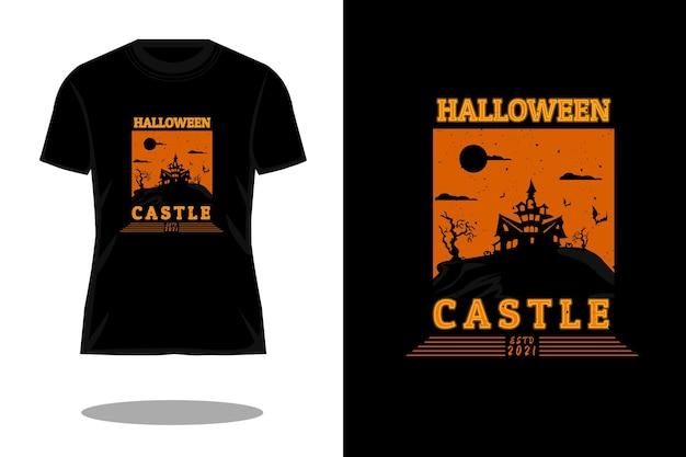 Halloweenowy zamek retro vintage t shirt projekt
