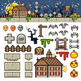 Halloweenowy zestaw do gry na poziomie płaskim w nocy