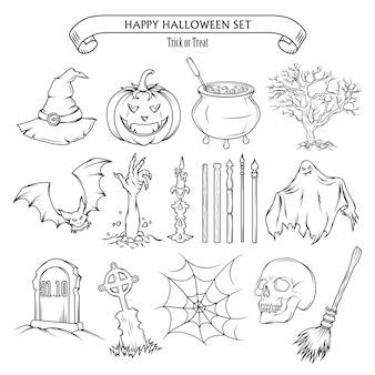 Halloweenowy zestaw elementów projektu.