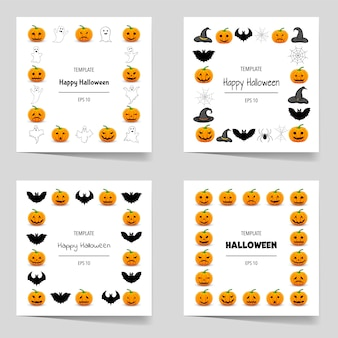 Halloweenowy zestaw ramek do tekstu z tradycyjnymi atrybutami. styl kreskówki. ilustracja.